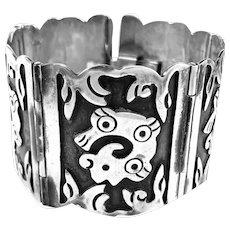 HUGE 1940s Bernice GOODSPEED Taxco Handmade pre-Columbian Mexican Sterling Silver BRACELET
