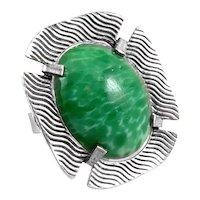 BIG Vintage 1970s SIGNED Handmade Sterling & Green Art Glass Modernist RING - Adjustable