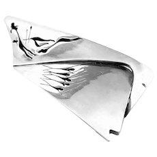HUGE 1950s Antonio Pineda Taxco Handmade 970 Silver Mexican Modernist Design BELT BUCKLE