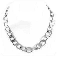 SIGNED Vintage 1990s Handmade Hammered Sterling Silver Modernist Lark Link Chain NECKLACE