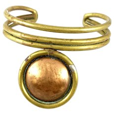 BIG 1960s 70s Handmade Mixed Metals Copper & Brass Geometric Modernist Cuff BRACELET