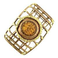 BIG Vintage 1960s 70s Handmade Mixed Metals Copper & Brass Geometric Modernist Cuff BRACELET