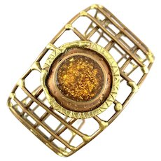 BIG Vintage 1960s 70s Handmade Mixed Metals Copper & Brass Geometric Modernist Cuff BRACELET