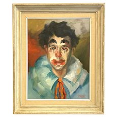 ORIGINAL 1950s 60s Signed Tom D. Moore Oil on Canvas Portrait of Young Man as Clown PAINTING