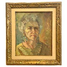 RARE Original 1950s 60s Tom D. Moore Oil on Board Portrait of Catherine PAINTING