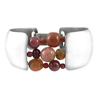 RARE 1960s Ruth Berridge One of a Kind Handmade Sterling & Gemstone Beads Modernist BRACELET