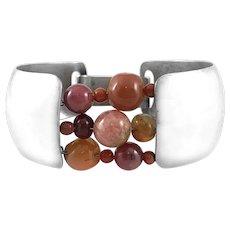 RARE 1960s Ruth Berridge One of a Kind Handmade Sterling & Gemstone Beads Modernist BRACELET