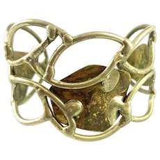 HUGE 1960s 70s One of a Kind Handmade Bronze Brutalist Modernist Cuff BRACELET