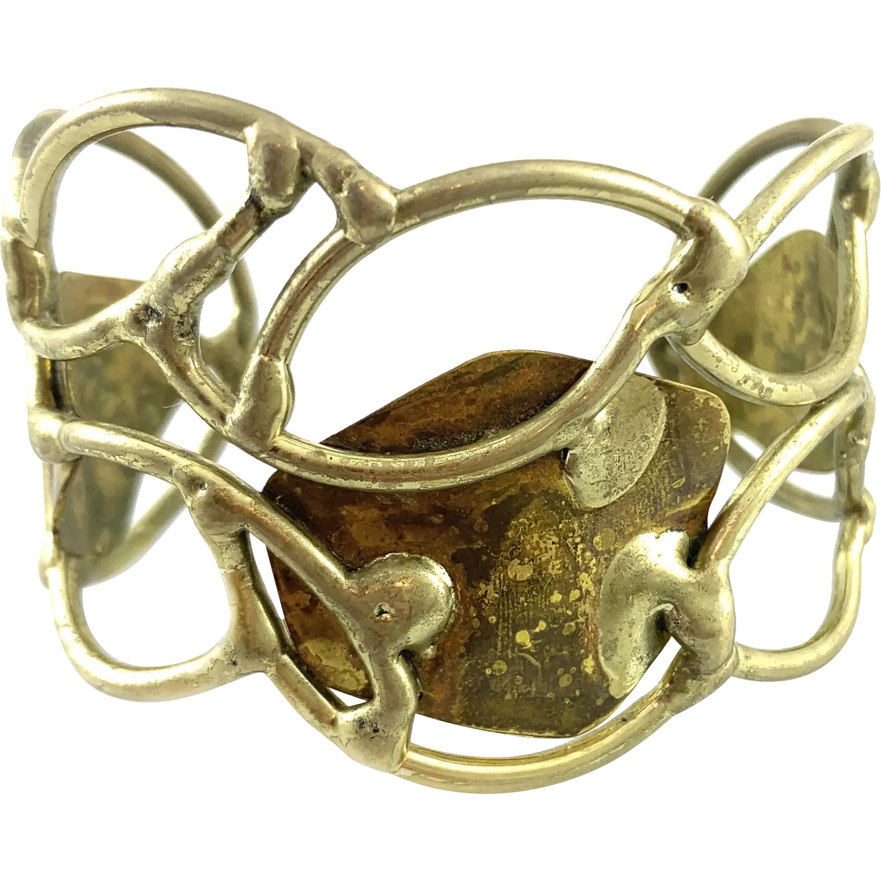 One of Kind Handmade Wide Silver and Gold Brutalist Cuff Bracelet