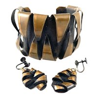 HUGE 1950s 60s Handmade Copper Modernist Spiky Toothy Design Cuff Bracelet & Earrings SET