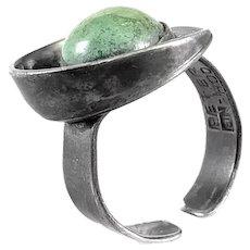 BIG Vintage 1950s Johannan Peter Ein Hod Israel Handmade Sterling & Eilat Stone Modernist RING - Adjustable Size 9 US