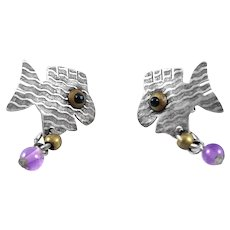 WHIMSICAL Vintage 1980s Handmade Mixed Metals Sterling Brass Amethyst Happy Fish Pierced EARRINGS