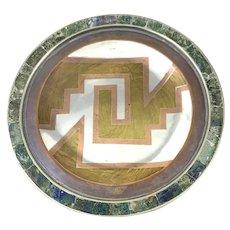 SUPERB 1950s Los Castillo Metales Casados & Mosaico Azteca Aztec Geometric Design Plate TRAY