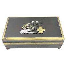 EXQUISITE 1920s Japan Mixed Metals Shakudo Style Smoking Smokers BOX in Original Presentation Case
