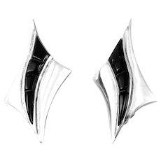HUGE 1980s Signed Handmade Sterling & Black Onyx Mexican Modernist EARRINGS