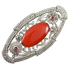BIG Vintage 1920s 30s Art Deco Geometric Sterling Marcasites & Red Glass Brooch PIN