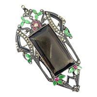 HUGE Vintage 1920s Art Deco Germany 935 Silver Enamel Marcasites & Glass Brooch PIN