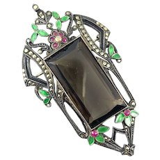 HUGE Vintage 1920s Art Deco Germany 935 Silver Enamel Marcasites & Glass Brooch PIN