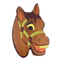 BIG Vintage 1940s Handmade Painted Wood Happy Horse Brooch PIN