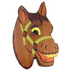 BIG Vintage 1940s Handmade Painted Wood Happy Horse Brooch PIN
