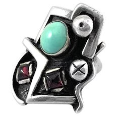 HUGE Vintage 1980s Handmade Sterling Turquoise & Garnets Abstract Modernist RING - Size 7 US