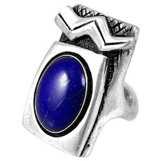 HUGE Vintage 1980s Handmade Sterling & Lapis Abstract Modernist RING - Size 7.75 US