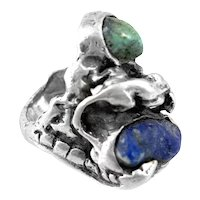 HUGE 1960s 70s One of a Kind Handmade Sterling Turquoise & Lapis Tropical Brutalist RiNG - Size 11