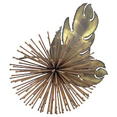 HUGE 1960s Jeré California Handmade Mixed Metals Copper & Bronze Modernist Flower SCULPTURE