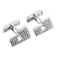 ART DECO Vintage 1930s 40s Sterling Silver & Marcasite Initial J Design CUFFLINKS