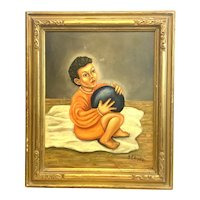 ORIGINAL 1948 Signed Oil on Board Boy with Ball Retablo PAINTING