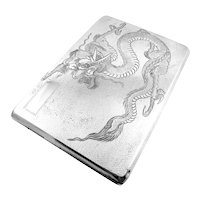 BIG Antique Qing Dynasty Chinese Export Silver SIGNED Handmade DRAGON Design CASE