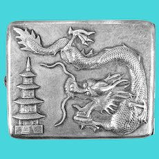 ANTIQUE c. 1900 Chinese Export Silver Signed Yuan Shanghai Handmade Sterling Dragon & Pagoda CASE