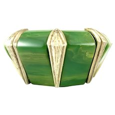 BIG 1930s Art Deco Marbled Green Bakelite Geometric Design Stretch BRACELET
