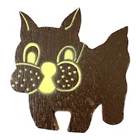 BIG 1930s 40s Art Deco Handmade Painted Wood Whimsical Cartoon Bull Dog Brooch PIN