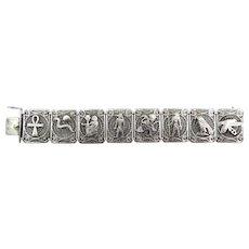 BIG Vintage 1920s 30s SIGNED Art Deco Handmade 835 Silver Filigree Egyptian Revival Link BRACELET