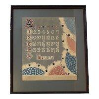 ORIGINAL 1920s Art Deco Month of February Calendar Page Woodblock PRINT Framed & Under Glass