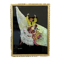 SIGNED 1920s Art Deco Edith Ramsey Reverse Painted Flamenco Dancers on Glass ARTWORK