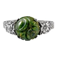 RARE 1930s Art Deco Silver & Carved Bakelite Floral Design Cuff BRACELET
