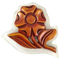 RARE Vintage 1930s Art Deco Handmade Carved Bakelite and Lucite FLOWER Brooch PIN