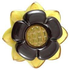 BIG Vintage 1930s Art Deco Handmade Carved Bakelite FLOWER Brooch PIN