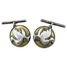 SUPERB Pair of Signed Antique c. 1900 Japanese 950 Silver & Gold Overlay BIRD Design CUFFLINKS