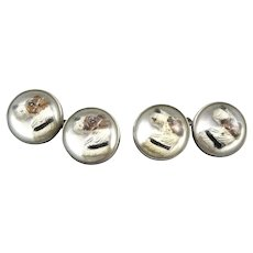 RARE Pair of 1930s Art Deco Signed Handmade Sterling & Reverse Carved & Painted AIREDALE Design CUFFLINKS