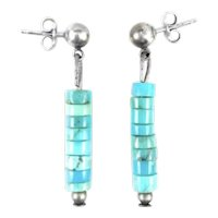 BIG Vintage 1960s 70s Navajo Handmade Sterling Silver & Turquoise Bead Dangling Pierced EARRINGS
