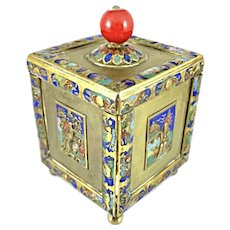 RARE 1920s Chinese Handmade Gilt Bronze & Enamel Elaborate Decorative BOX