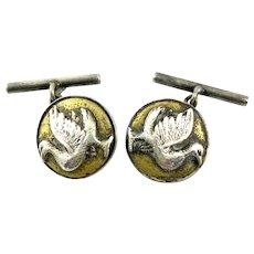 Antique c. 1900 JAPAN Signed Artisan Handmade 950 Silver & Gold Overlay BIRD Design CUFFLINKS