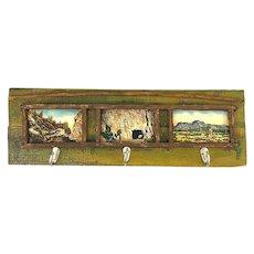 CHARMING Handmade & Painted Wood Metal & Vintage Post Cards Desert Southwestern COAT RACK
