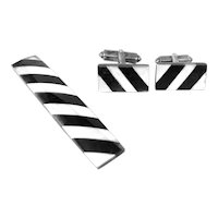 RARE 1950s Enrique Ledesma Taxco Handmade Sterling & Obsidian Striped Cufflinks & Tie Bar SET