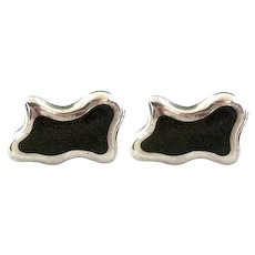 BIG 1950s Felipe MARTINEZ Piedra Y Plata Handmade Sterling Silver and Obsidian Biomorphic Modernist CUFFLINKS