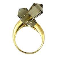 HUGE Vintage 1960s 70s Signed Handmade Gilt Sterling & Smoky Quartz Modernist RING - Size 6.5 US