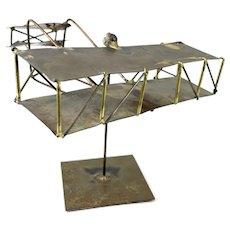 SIGNED 1970s Joseph Romano Handmade Mixed Metals Modernist Bi-Plane Desk Top Kinetic SCULPTURE